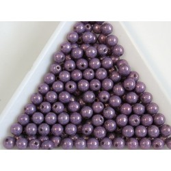 Margele sticla presata rotunde 4mm, opaque amethyst ceramic luster (10g)