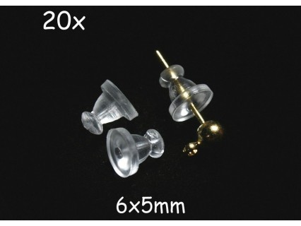 Fluturasi cercei 6x5mm (earnuts), polimer transparent, 20 bucati
