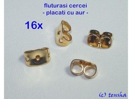 Fluturasi cercei (earnuts), din otel inoxidabil placat cu aur, 16 bucati