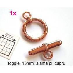 Toggle clasp 13mm CP - închizatoare alama placata cu cupru (1 set)
