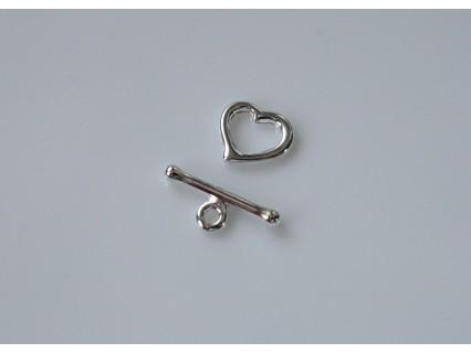 Inchizatoare toggle inimioara - pewter placat cu argint 8x8mm (1 set)