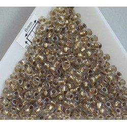 Toho R8-262, Inside-Color Crystal/Gold Lined, 10g