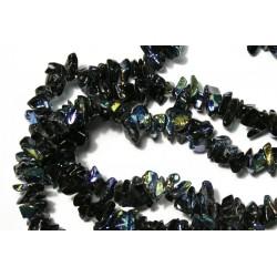 Chipsuri sticla, negre cu irizatii, 6mm, sirag 88cm