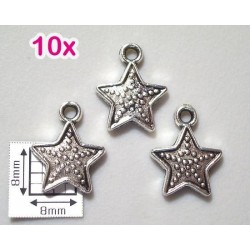 Charm stea, cca 12mm, pewter finisaj argint antic (10 bucati)