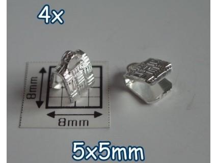 End Crimp 5x5mm - capat de panglica, SLP, texturat (4 bucati)