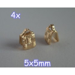 End Crimp 5x5mm - capat de panglica, GLP, texturat (4 bucati)