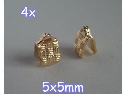 End Crimp 5x5mm - capat de panglica, GLP, texturat (4 bucati)