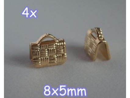 End Crimp 8x5mm - capat de panglica, GLP, texturat (4 bucati)