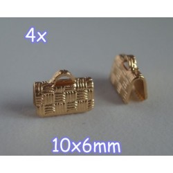 End Crimp 10x6mm - capat de panglica, GLP, texturat (4 bucati)