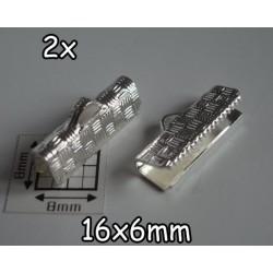 End Crimp 16x6mm - capat de panglica, SLP, texturat (2 bucati)