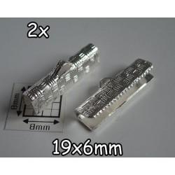 End Crimp 19x6mm - capat de panglica, SLP, texturat (2 bucati)