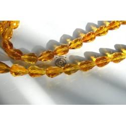 Briolete fatetate sticla 15x10mm, galben inchis, 1x