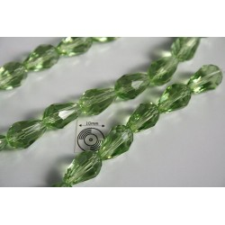 Briolete fatetate sticla 15x20mm, verde transparent, 1x