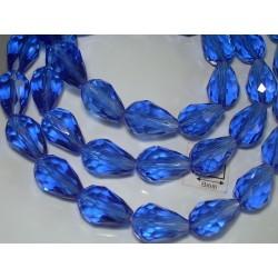 Briolete sticla fatetate 14x10mm, albastru inchis transparent, 1x