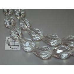 Briolete sticla fatetate 14x10mm, cristal clar, 1x