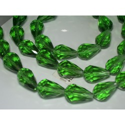Briolete sticla fatetate 14x10mm, verde deschis transparent, 1x