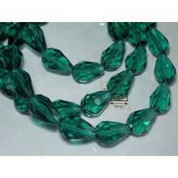 Briolete sticla fatetate 14x10mm, verde inchis transparent, 1x