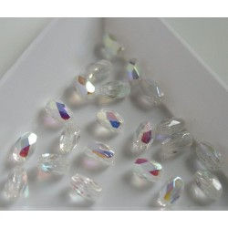Margele firepolish ovale 4x6mm, crystal AB, 10x