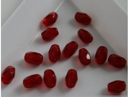 Margele firepolish ovale 4x6mm, rosu mediu, 10x