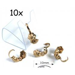 "Masca nod ""floare"" (bead tips), alama placata cu aur, finisaj antic (10 bucati)"