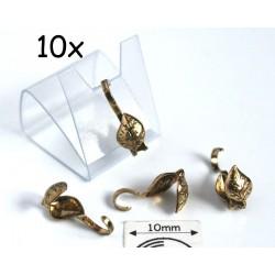 Masca nod frunza (bead tips), alama placata cu aur, finisaj antic (10 bucati)