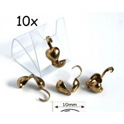 "Masca nod ""inima"" (bead tips), alama placata cu aur, finisaj antic (10 bucati)"