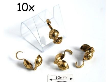 Masca nod peste (bead tips), alama placata cu aur, finisaj antic (10 bucati)