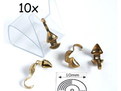 Masca nod triunghi (bead tips), alama placata cu aur, finisaj antic (10 bucati)