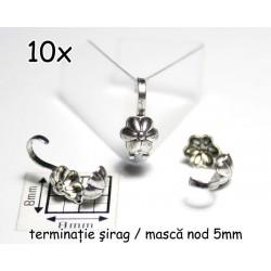 Masca nod floare, alama placata cu argint, finisaj antic (10 bucati)
