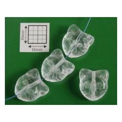 Margele sticla Cehia forma cap de pisica 12.60 x 11.50 x 6.50 mm culoare cristal clar (2 buc).