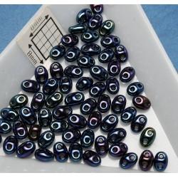 Tw02 margele PRECIOSA Twin 2.5x5mm, iris albastru, 5g