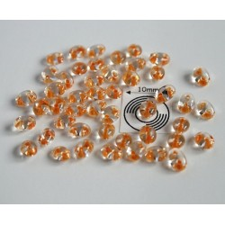 Tw11 margele PRECIOSA Twin 2.5x5mm, crystal orange lined, 5g