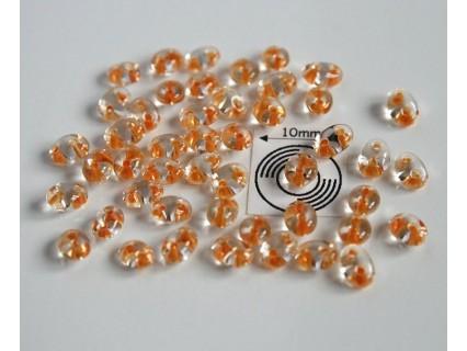 Tw11 margele PRECIOSA Twin 2.5x5mm, crystal orange lined, 5g