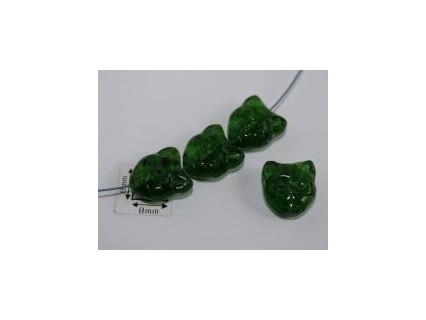 Margele sticla Cehia forma cap de pisica 12.60 x 11.50 x 6.50 mm culoare verde inchis transparent (2 buc).