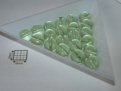 Margele sticla presata rotunde 8mm, verde transparent, 10 buc