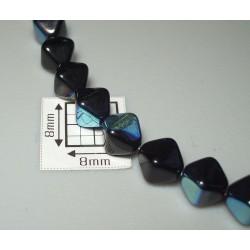 Margele sticla Cehia bicon 6 mm culoare negru lucios AB (10 buc).