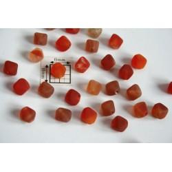Margele sticla Cehia bicon 6 mm culoare mix rosu/maro/portocaliu mat (10 buc).