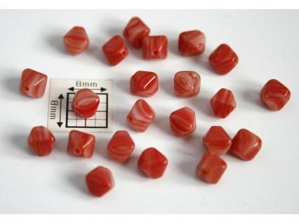 Margele sticla Cehia bicon 6 mm culoare nuante de rosu opac (10 buc).