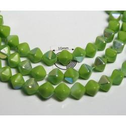 Margele sticla Cehia 6bicon mm culoare peridot opac AB (10 buc).
