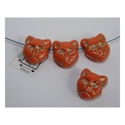 Margele sticla Cehia forma cap de pisica 12.60 x 11.50 x 6.50 mm culoare orange opac cu auriu (2 buc).