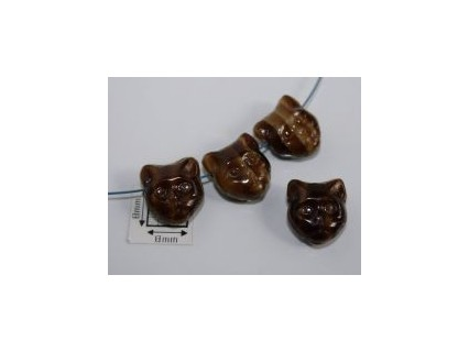 Margele sticla Cehia forma cap de pisica 12.60 x 11.50 x 6.50 mm culoare maro opac (2 buc).