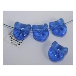 Margele sticla Cehia forma cap de pisica 12.60 x 11.50 x 6.50 mm culoare albastru transparent (2 buc).