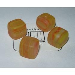 Margele sticla Cehia cub cca 9.3 x 7.7 mm culoare galben inchis mat(2 buc).