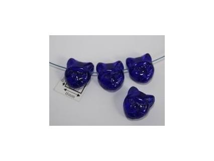 Margele sticla Cehia forma cap de pisica 12.60 x 11.50 x 6.50 mm culoare cobalt (2 buc).