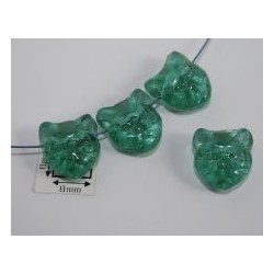 Margele sticla Cehia forma cap de pisica 12.60 x 11.50 x 6.50 mm culoare verde deschis transparent (2 buc).