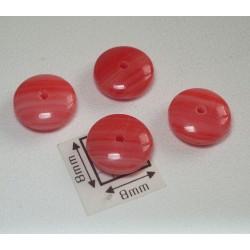 Margele sticla Cehia disc 9 x 4 mm rosu deschis opac 10 buc.