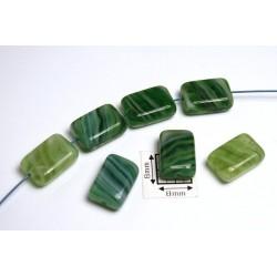Margele sticla Cehia dreptunghi cca 11.80 x 8.30 x 4.30 mm culoare nuante de verde (10 buc).