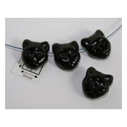 Margele sticla Cehia forma cap de pisica 12.60 x 11.50 x 6.50 mm culoare negru opac lucios (2 buc).