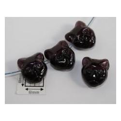 Margele sticla Cehia forma cap de pisica 12.60 x 11.50 x 6.50 mm culoare granat (2 buc).