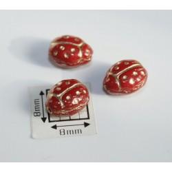 Margele sticla Cehia forma gargarita 9.60 x 7.20 x 6.80 mm culoare rosu opac cu auriu (1 buc).